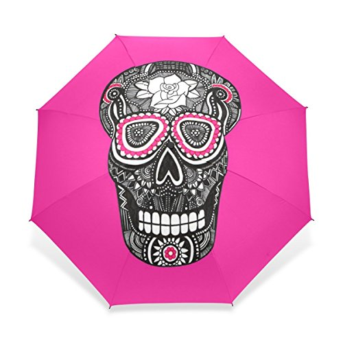 ZOEO Rain Umbrella Windproof,Small Sugar Skull Thumb Pink Color,Ultralight Foldable Compact Travel Umbrella