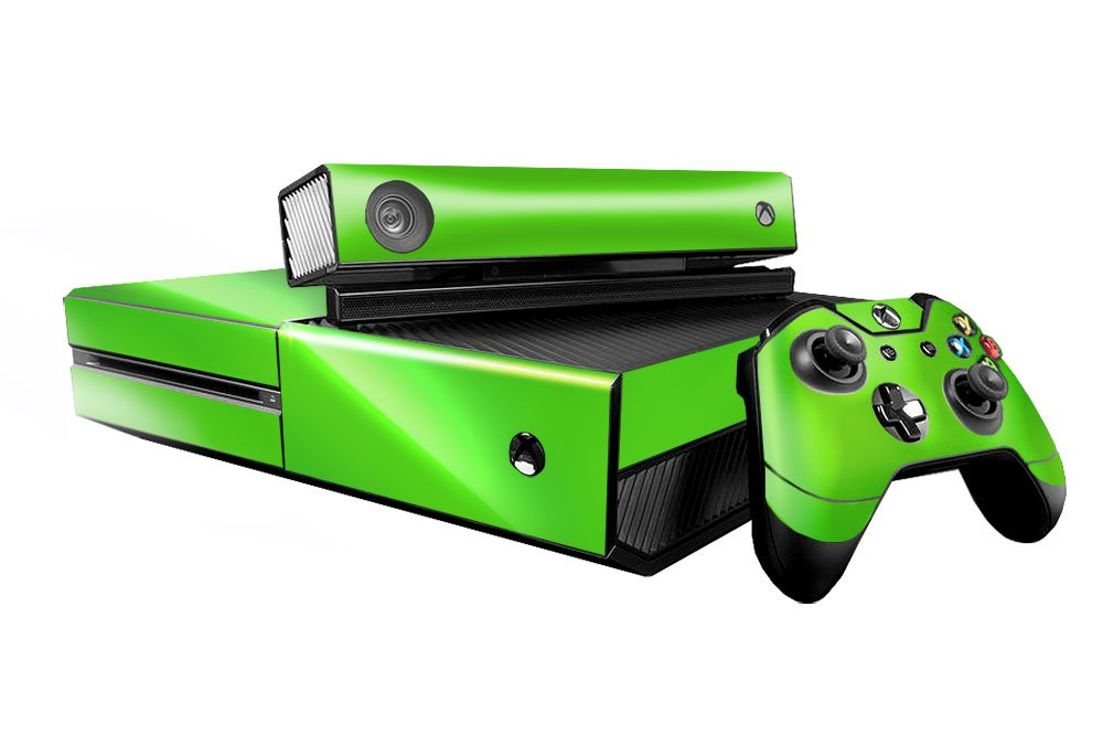 Microsoft Xbox One Skin (XB1) - NEW - LIME CHROME MIRROR system skins faceplate decal mod wood grain oak 01 holiday bundle decal style skin set fits xbox one console kinect and 2 controllers xbox system sold separately