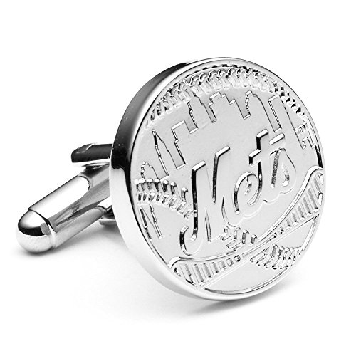 Silver Edition NY Mets Cufflinks Novelty 1 x 1in