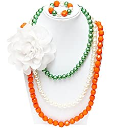 D'chica Tri Colour Love Beaded Jewelry With Flower For Girls