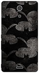 The Racoon Lean Bat Pattern hard plastic printed back case for Sony Xperia ZR