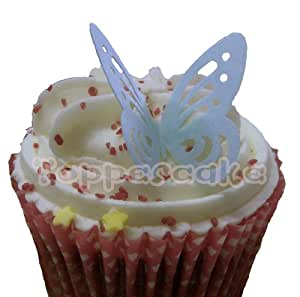 (SB) Baby Blue Edible Rice Paper Butterfly Cupcake Wedding Cake Decoration x 12