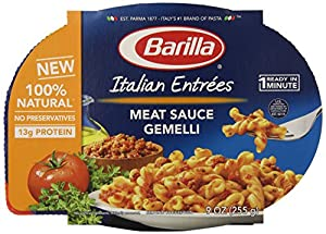 Barilla Meat Sauce Gemelli Italian Entree, 9 Ounce Microwavable Bowls (Pack of 6)