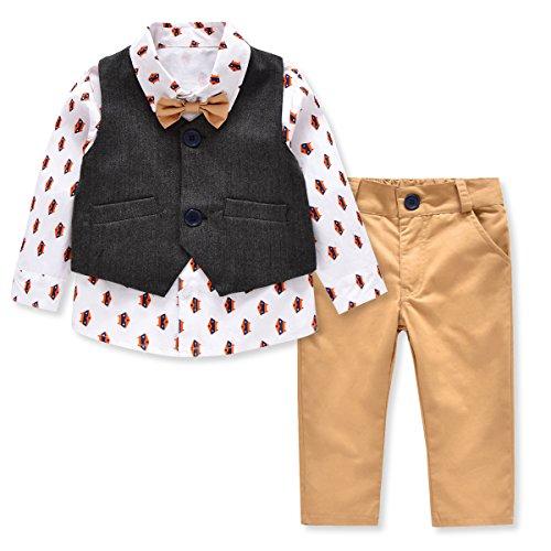 LvYinLi US Baby Boys 4 Pieces Bowtie Gentleman Long sleeve shirt Vest With Pants (13-18 months, Khaki)
