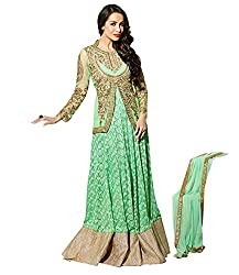 Rudra Textile Women's Green Georgette Bollywood Suit