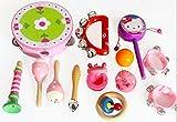 13PCS del cabrito del beb� de sonido de madera Hit Instrumentos Musicales Juguetes Juegos de Regalo (Rosado)