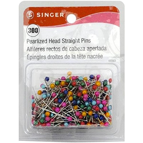 Singer Pearlized Head Straight Pins, Size 24, 300-Pack
