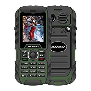 N.ORANIE AORO IP68 Waterproof Shockproof Dustproof Explosion-proof Military Level Rugged Mobile Phone with Loud Speaker and Flashlight 2 Unlocked SIM Cards for Outdoor Adventure Wild Trip