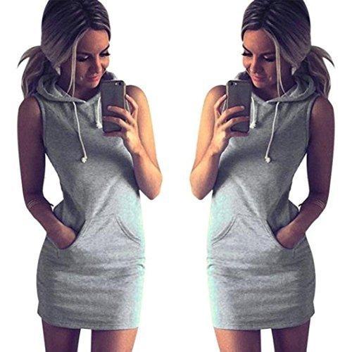 GBSELL Fashion Womens Summer Casual Sleeveless Hoody Dress (L)