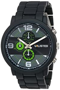 UNLISTED WATCHES Men's UL1235 City Streets Black Case Black Bracelet Green Details Watch