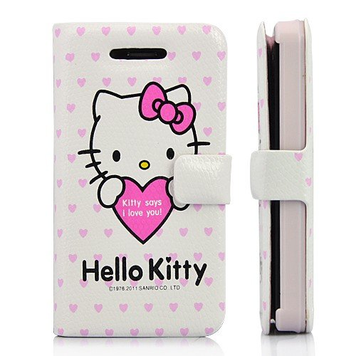 Hello Kitty & Love Wallet Style Leather Case With Magnetic Flip For iPhone 4 and 4S WHITE