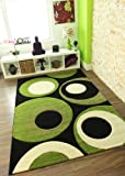 """Havana 915 Black and Lime Green Carved Carpet 110 cm x 160 cm (3'7"""" x 5'3"""") 4 Sizes Available"""