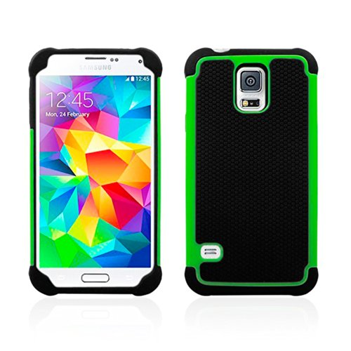 Pioneer Tech® Armor Dual Layer Hybrid Hard/Soft Protective Case Cover For Samsung Galaxy S5 (Green)