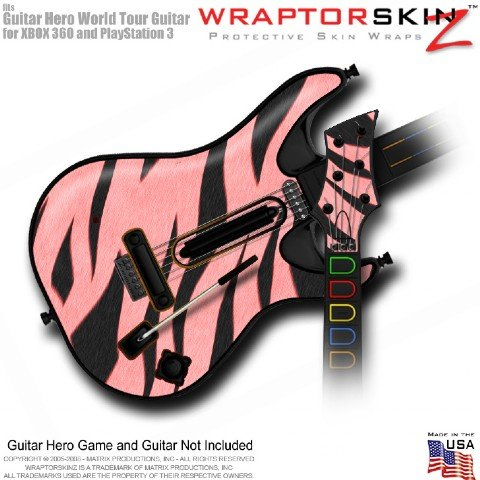 Zebra Stripes Pink Skin fits Band Hero, Guitar Hero 5 & World Tour Guitars for XBOX 360 & PS3 (GUITAR NOT INCLUDED) by WraptorSkinz TM - (OEM Packaging)