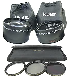 VIVITAR Twin Lens Accessory Kit for Pentax dSLR and the DA 18-55mm Lens includes Telephoto, Wide-Angle, and Macro +Filters +BONUS Gift Card!
