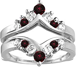 14k Gold Chevron Ring Guard with Diamonds and Ruby 032 ct twt