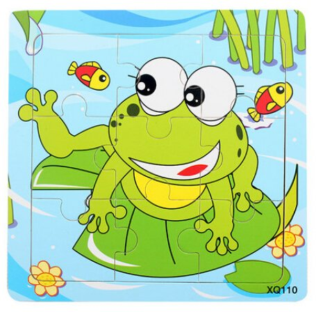 XQ110 9-piece Wooden Colorful Jigsaw Animal Puzzle, Frog