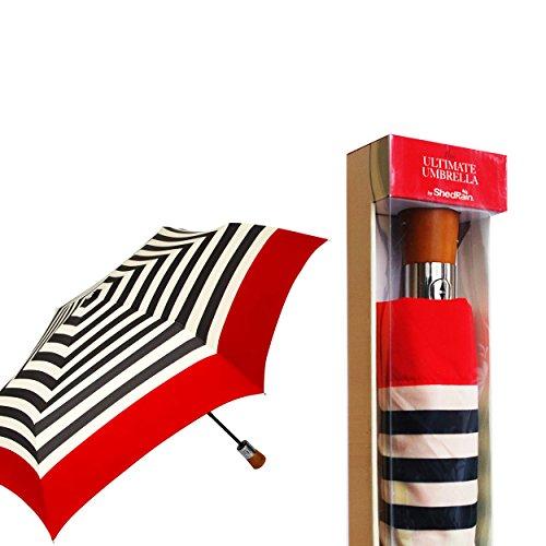 shedrain-ultimate-umbrella-wooden-handle-folding-black-red-white-stripe