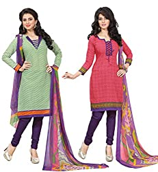 Inaaya Collections Coton printed dress Green:Pink colored 2 in 1 dress material