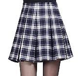 (コンテッツァ) contezza レディース チェック 柄 ボックス プリーツ Aライン ミニ スカート (M, 紺)