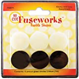 Fuseworks Ebony and Ivory Fusible Glass Shapes 1-Inch Round Disks, Black/White, 6-Pack