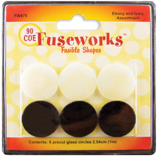 Fuseworks Ebony And Ivory Fusible Glass Shapes 1-Inch Round Disks, Black/White, 6-Pack front-303645