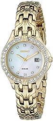 "Seiko Women's SUT086 ""Excelsior"" Stainless Steel Swarovski Crystal-Accented Solar Watch"