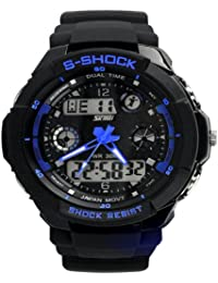 SMK Fashion Led Light Calendar Waterproof&shockproof Men Digital Electronic Outdoor Wrist Sport Watch-4 LED Colors (Blue) (With Black Stell Case)