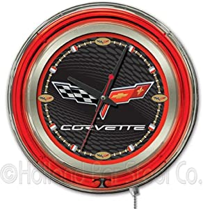 Corvette - C6 15 Double Neon Ring Logo Wall Clock Color: Black Red by Holland Bar Stool