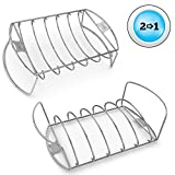 Rib & Roast BBQ Rack - Roasting & Cooking Chicken Turkey Hams on Gas or Charcoal Grill Smoker or In Oven - Best Dishwasher Safe Stainless Steel for Barbecue Meat by Cave Tools