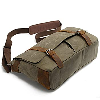 "Vintage Waterproof Canvas Leather Trim DSLR SLR Camera Shoulder Messenger Bag(Over Size: 1 x 14""laptop + 1 x D/SLR + 1-2 x extra lenses + accessories)"