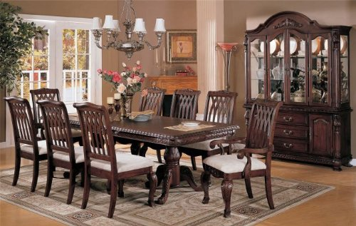 9pcs Dining Table and Chairs Set - Dark Cherry Finish