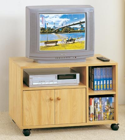 Cheap Natural Finish Wood TV Stand/Cart w/Media Storage Shelves (VF_F4402)