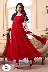 Red Anarkali Semistitched Dress Material