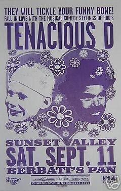 Tenacious D Jack Black Rare Original '99 Portland Oregon Concert Tour Gig Poster