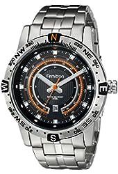 Armitron Men's 20/5015BKSV Orange Accented Dial Silver-Tone Bracelet Watch