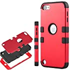iPod Touch 5 case,ULAK® Hybrid 3 Layer Hard Case Cover with Soft Shell Inside Case for Apple iPod Touch Generation 5 (Red/Black)