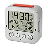 "Radio controlled alarm clock ""BINGO"" with temperature 60.2528.54 silver"