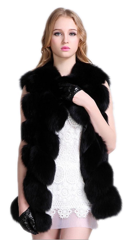 YR.Lover Damen Echt Fuchs Pelz Lang Weste&waistcoat günstig kaufen