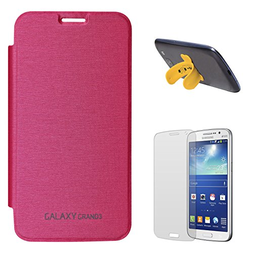 DMG Smooth PU Leather Back Replace Flip Cover Case For Samsung Galaxy Grand Max SM-G7200 (Magenta) + Touch U Silicone Stand + Matte Screen