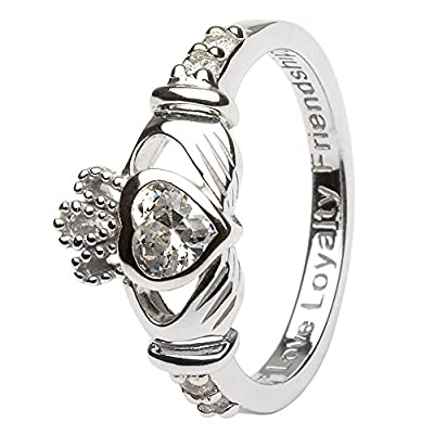 APRIL Birth Month Silver Claddagh Ring LS-SL90-4. Made in Ireland.