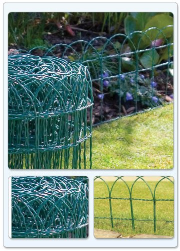 20M X 0.25M GREEN PVC COATED GARDEN BORDER FENCE FENCING WIRE MESH