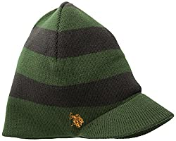 U.S. Polo Assn. Men's Reversible Striped Brim Beanie, Olive, One Size