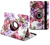 Ruban Fabulous A style flower 360 degree rotating case for iPad4, ipad 3, ipad2, Multi-Function PU Leather Stand Case / Cover, With super Auto Sleep Wake Function (FOR IPAD4/3/2, #Flower-Hot Pink)