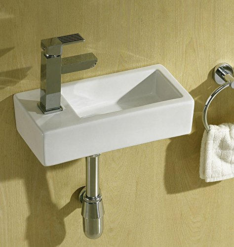 Super Tiny Mini Small Compact Square Rectangle Cloakroom Basin Bathroom Sink Wall Hung 375 X 185 Left Hand