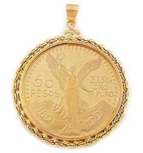 Amazon.com: Gold Filled 50 Peso Rope Copy Coin Pendant Coin Included