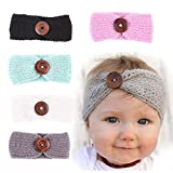 niceEshop(TM) 5Pcs Baby Knitting Button Headbands Head Wrap Crochet Hair Band