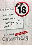 A4 XXL Geburtstagskarte Endlich 18 Jetzt nur noch erwachsen werden