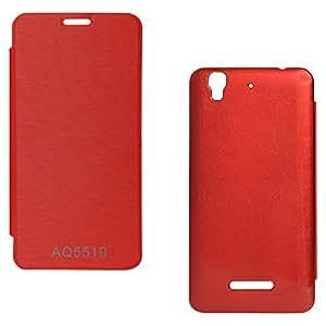 DMG Premium Flip Cover Case for Micromax Yu Yureka Plus Mobile (Red)