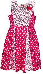 Euphoria Girls' Dress (SKU292F, Pink and White, 6-7 Years)